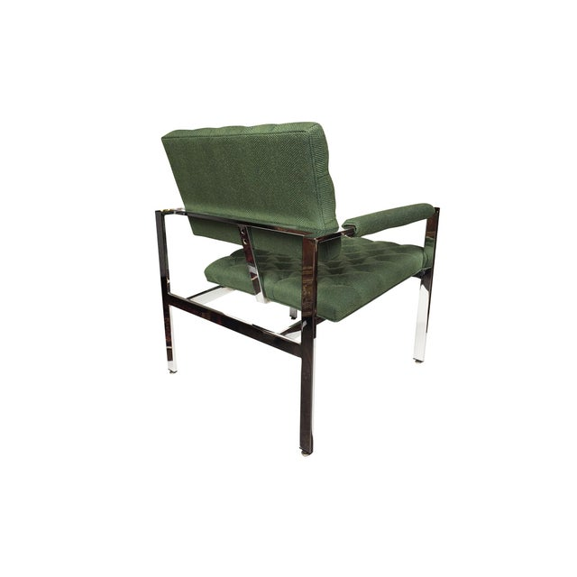 1960s 1960s Flat-Bar Chrome Club Chairs by Milo Baughman for Thayer Coggin - a Pair For Sale - Image 5 of 14