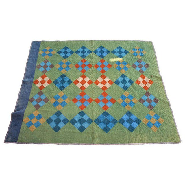 Boho Chic Antique Amish Nine Patch Wool Quilt For Sale - Image 3 of 9