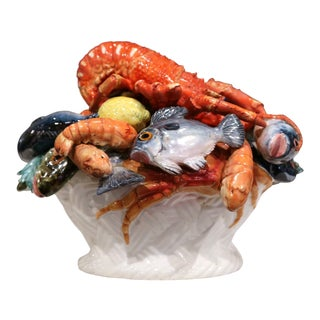Mid-20th Century French Painted Ceramic Barbotine Seafood Basket Composition For Sale