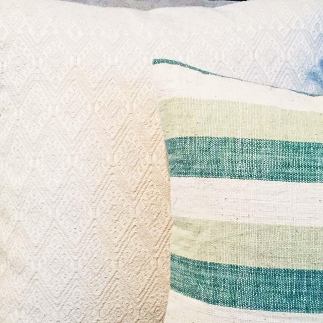 Blue & Green Striped Cotton Pillows - A Pair - Image 3 of 6