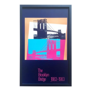 "Andy Warhol Rare Vintage 1983 Lithograph Print Framed Pop Art Poster "" the Brooklyn Bridge 1883 - 1983 "" For Sale"