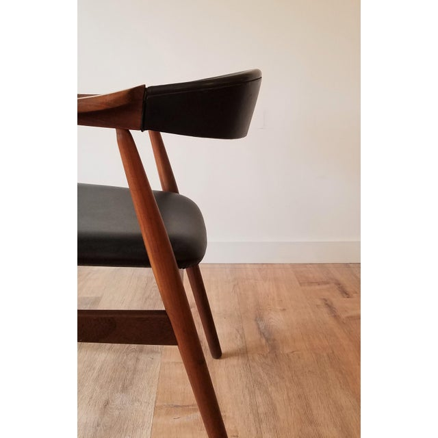 Thomas Harlev Model 213 Side Chair in Teak and Black Leatherette for Farstrup Møbler For Sale In Seattle - Image 6 of 12