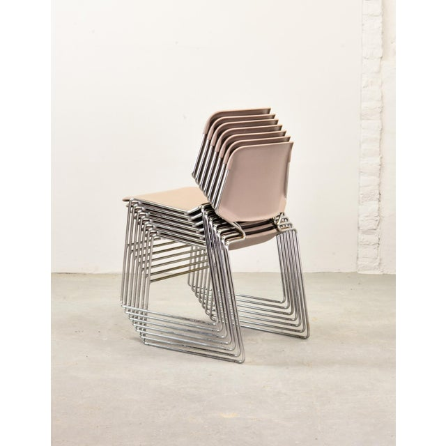 Chrome Set of Seven Mid-Century Muted Pink Stackable Dining Chairs by Thomas Tolleson for Matrix Krueger, Usa, 1970s For Sale - Image 7 of 13