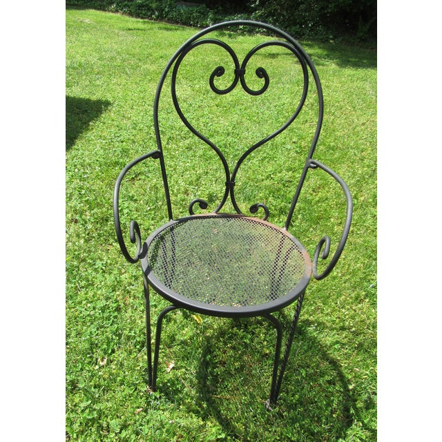 Mid 20th Century Woodard Parisian Style Wrought Iron Patio Outdoor Bistro Cafe Set- 3 Pieces For Sale - Image 5 of 11