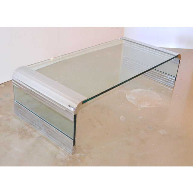 Large Chrome & Glass Leon Rosen Pace Collection Waterfall Cocktail Table 1970's For Sale In Austin - Image 6 of 11
