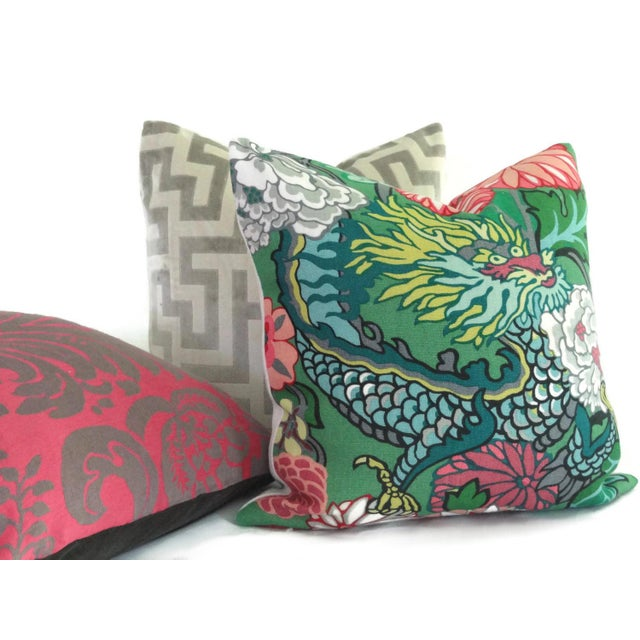 """Asian 20"""" x 20"""" Jade Schumacher Chiang Mai Dragon Decorative Pillow Cover For Sale - Image 3 of 4"""