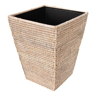 Artifacts Rattan Square Tapered Waste Basket - White Wash For Sale