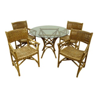 Faux Bamboo Rattan Sunroom Dining Patio Set Table 4 Chairs McGuire Antalya Style For Sale