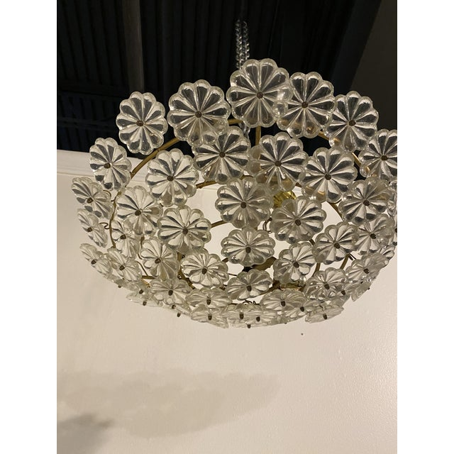French Glass Flower Light Fixture For Sale - Image 4 of 6
