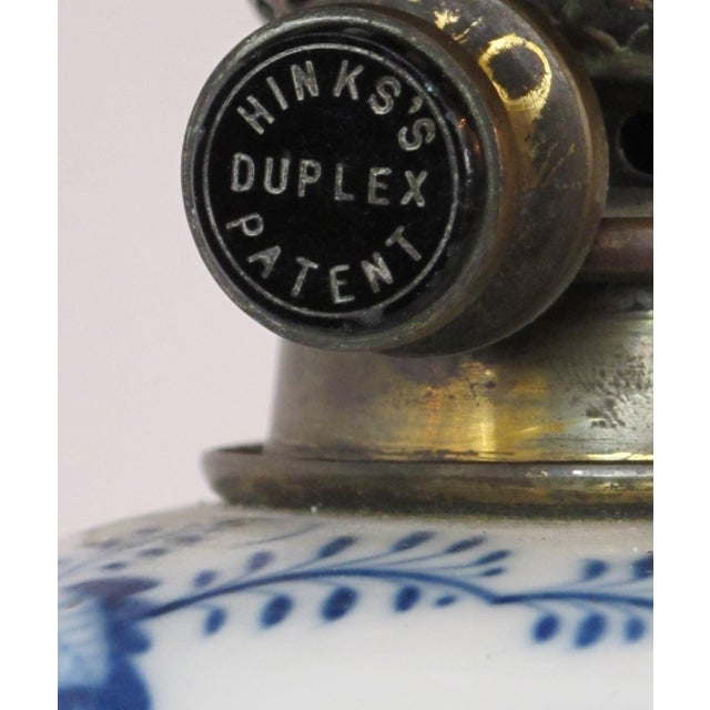 Metal Meissen Blue Onion Pattern Oil Lamps by Whiteley's Dept. Store, London - a Pair For Sale - Image 7 of 10