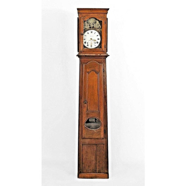 French 18th Century French Provincial Oak Grandfather Clock With an Enamel Griffin Face For Sale - Image 3 of 3