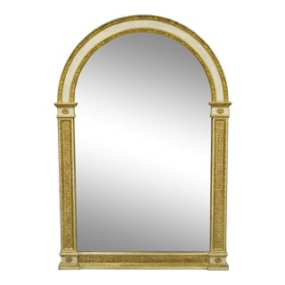 Italian Neoclassical Carved Gold Gilt Arched Top Large Trumeau Console Mirror For Sale