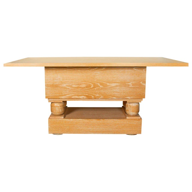 Hollywood Regency Limed Oak Console Table in the Style of Paul Dupre-Lafon For Sale