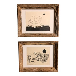 Gallery Wall Collection 2 Robert Cooke Abstract Landscape Ink Drawings 1980's For Sale