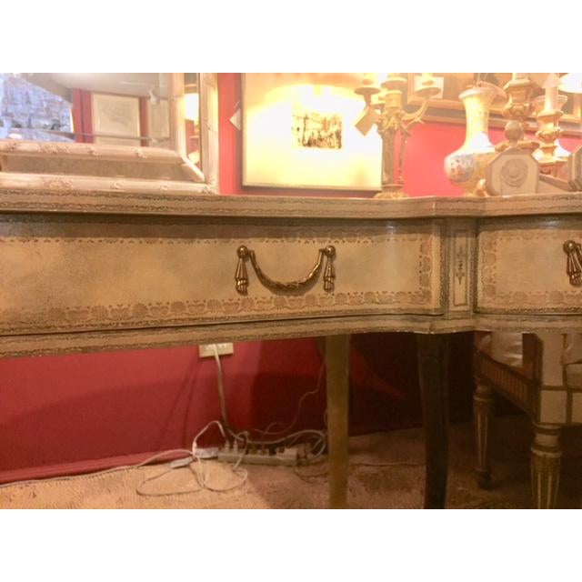 Maitland-Smith Cream Leather Writing Desk For Sale - Image 4 of 12