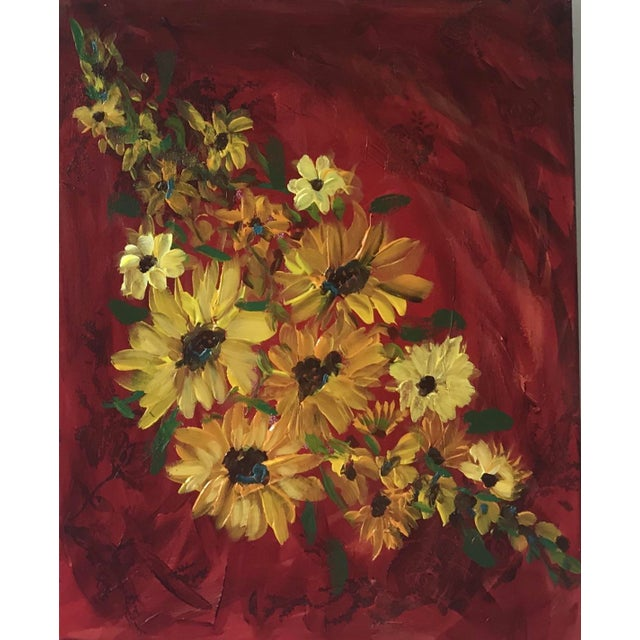 Sunflowers on Red Contemporary Painting For Sale - Image 9 of 9