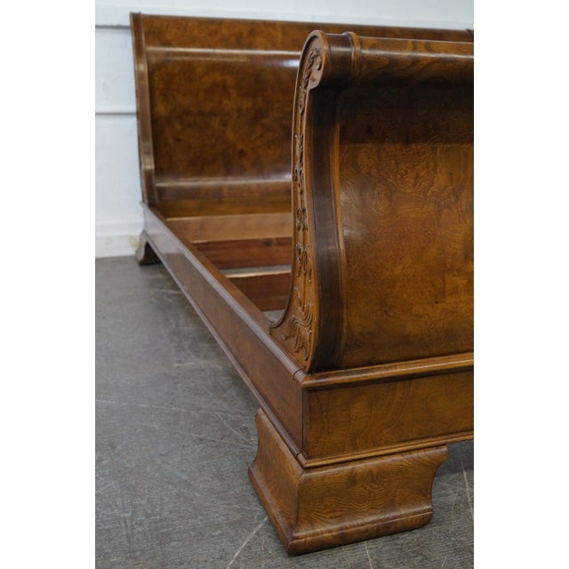 Henredon Charles X Queen Size Burl Wood Sleigh Bed For Sale - Image 5 of 10