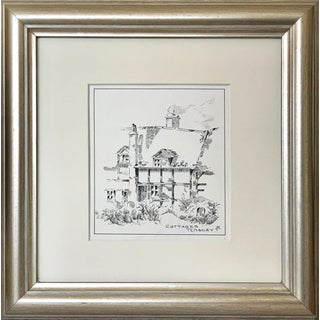 "Antique English Pen & Ink Landscape Drawing ""Cottages Tenbury"" C.1900 For Sale"
