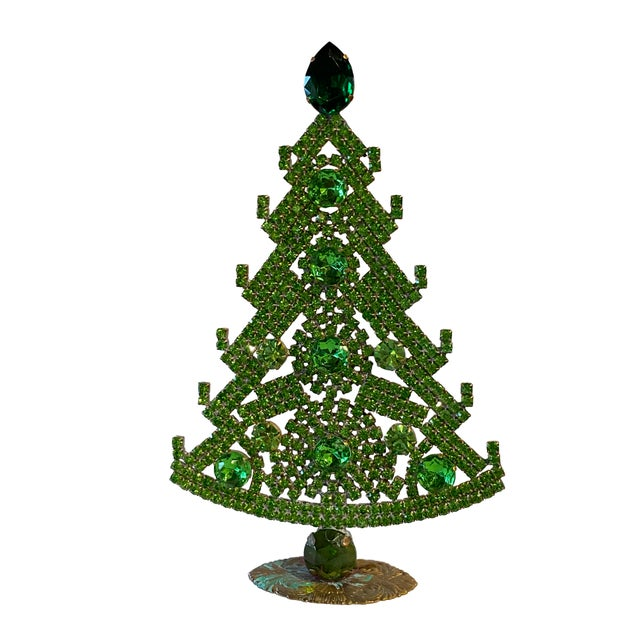 Early 20th Century Emerald Green Czech Rhinestone Christmas Tree For Sale - Image 5 of 5