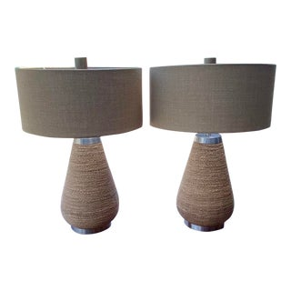 Contemporary Palecek Aviana Rope Lamps - a Pair For Sale