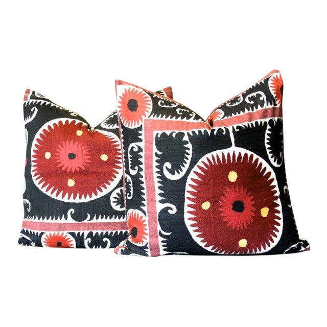 Pair of Rajah Suzani Square Pillow For Sale