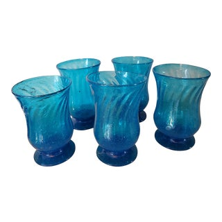Antique French Turquoise Footed Glasses - Set of 5 For Sale