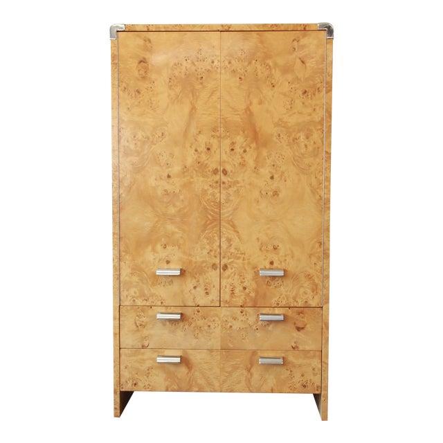 Leon Rosen for Pace Burled Olive Wood and Chrome Wardrobe Dresser - Image 1 of 13