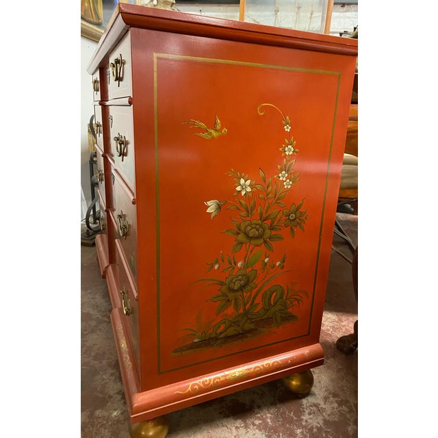 Chinese Red Chinoiserie Chest of Drawers by Baker Furniture C.1970s For Sale - Image 9 of 11