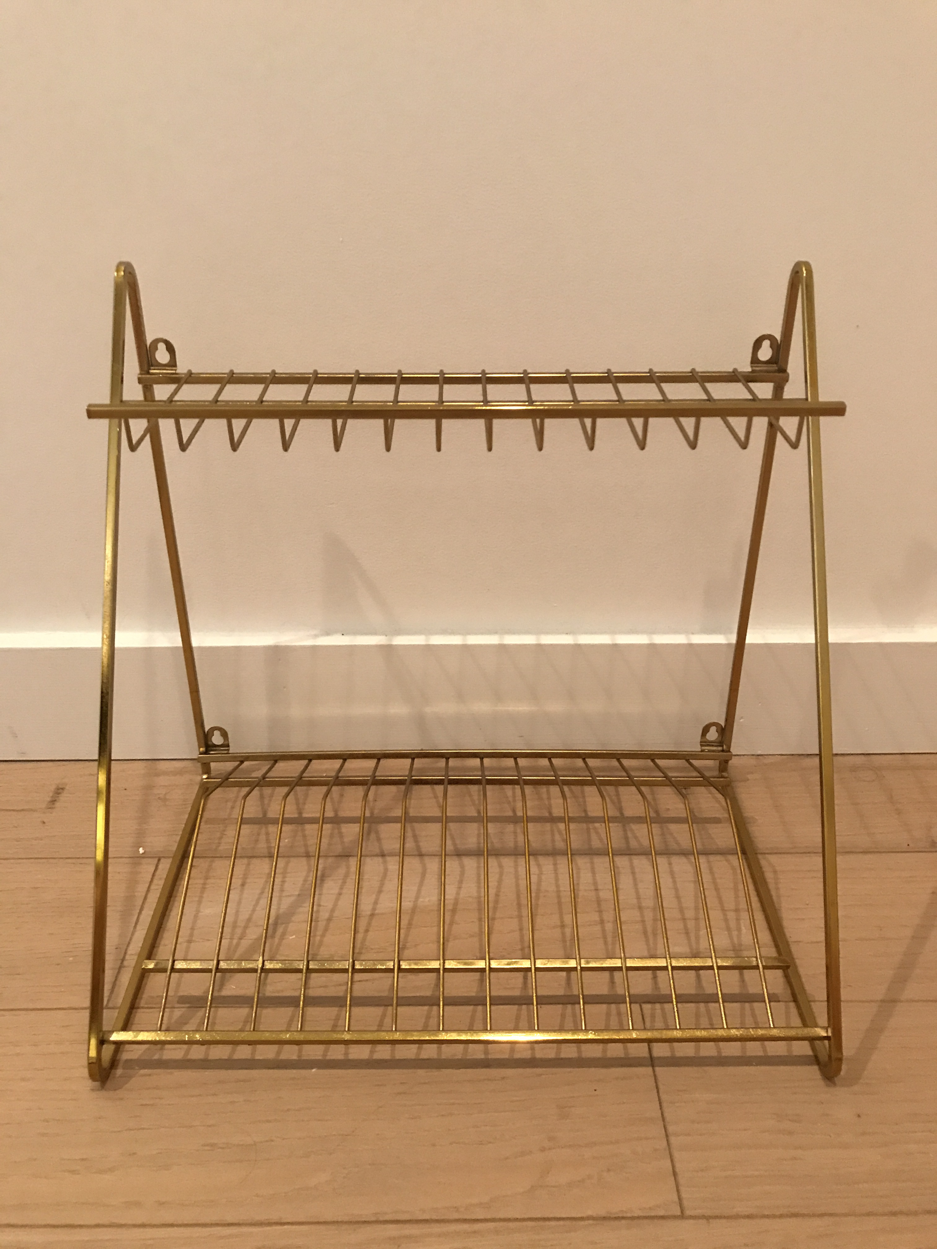 Cb2 Gold Wall Mounted Dish Drying Rack   Image 2 Of 4