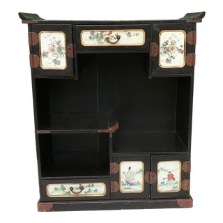 Antique 1800 Japanese Black Lacquered Cabinet With Key For Sale