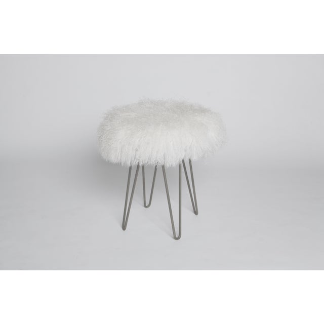 Modern Bright White Curly Hairpin Stool For Sale - Image 3 of 3