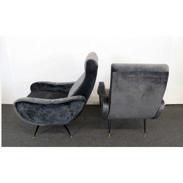 Italian 1950s Vintage Mid-Century Modern Italian Zanuso Lounge Chairs - a Pair For Sale - Image 3 of 4