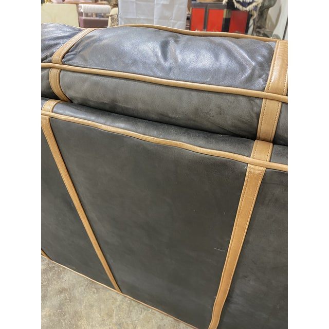 Cowhide Michael Thomas Onyx Leather Sofa For Sale - Image 7 of 13