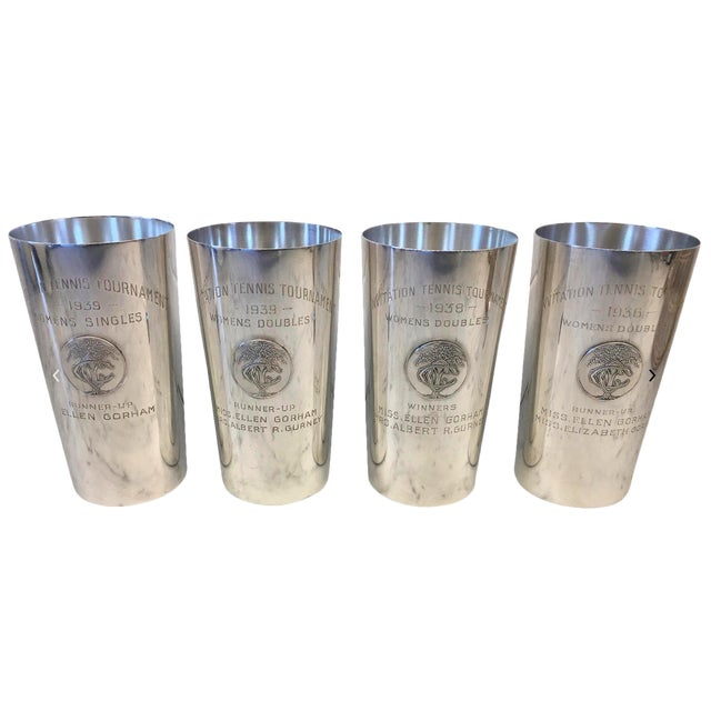 1930's Country Club Tennis Trophy Sterling Julep Cups - Set of 4 For Sale