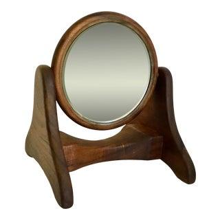 Vintage Mid-Century Modern Swivel Wood Vanity Mirror For Sale