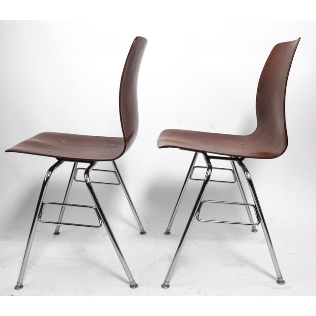 Brown Pr. Royal Pagholz Mid Century Stacking Chairs For Sale - Image 8 of 9