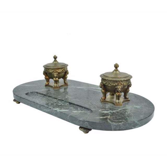 Antique French Empire Style Figural Bronze Green Marble Double Inkwell Neoclassic - Image 11 of 11