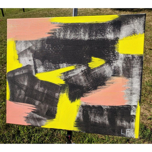 Original Abstract Neon Lime Salmon Pink and Black Painting For Sale - Image 4 of 13