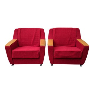 West German Mid Century Modern Cherry Red & Beech Wood Lounge Chairs - a Pair For Sale