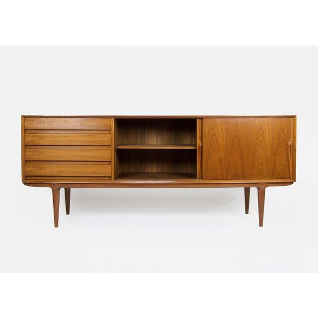 Mid-Century Modern 1960s Danish Modern Gunni Omann for Omann Jun Teak Credenza For Sale - Image 3 of 12