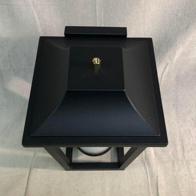 2010s Hinkley Lighting Sullivan Outdoor Black Lantern Wall Sconce For Sale - Image 5 of 13