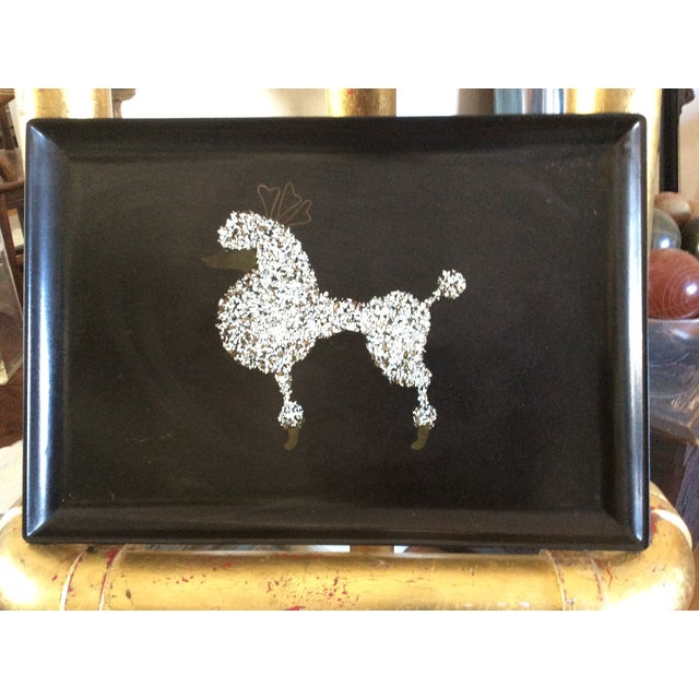 60s Black Poodle California Couro Abalone Tray - Image 2 of 8