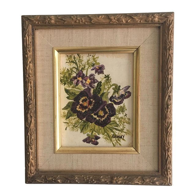 Vintage Floral Oil Painting - Image 1 of 6