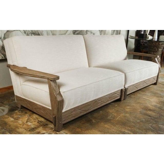 Mid-Century Distressed Oak Sofa - Image 2 of 6