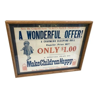 Framed Advertising Print for Sleeping Doll by Voight's Flour Products For Sale
