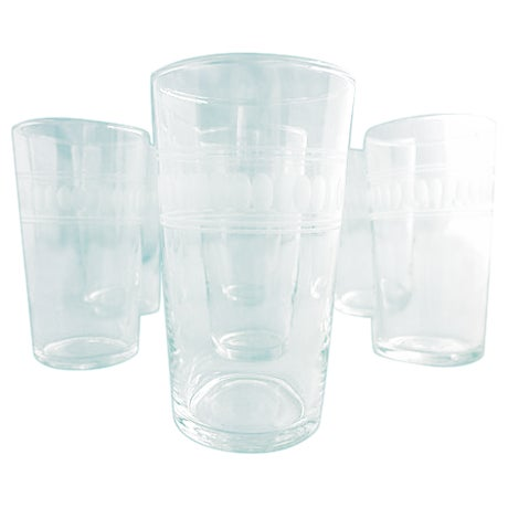 Mid-Century Clear Etched Bar Glasses - Set of 7 For Sale