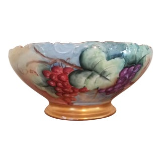 Tressemann & Vogt T&v Limoges Hand Painted Punch Bowl For Sale