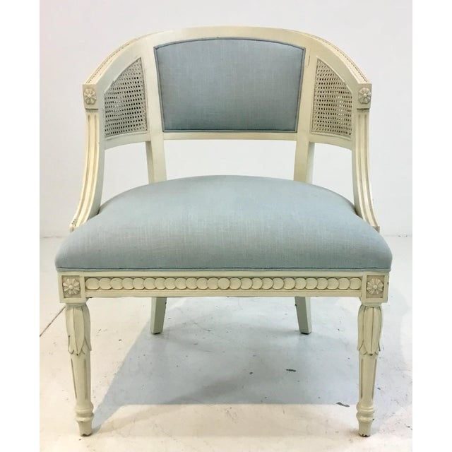 Traditional Hickory Chair Transitional Le Clerc Ivory Cane Chairs Pair For Sale - Image 3 of 8