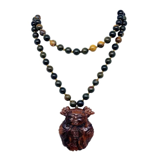 Jasper Bead & Asian Carved Wood Necklace For Sale