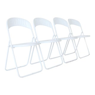 Vintage Italian White Plastic and Metal Folding Chairs - Set of 4 For Sale